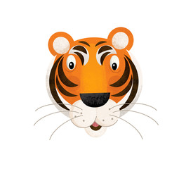 cartoon scene with tiger body part head on white background - illustration for children