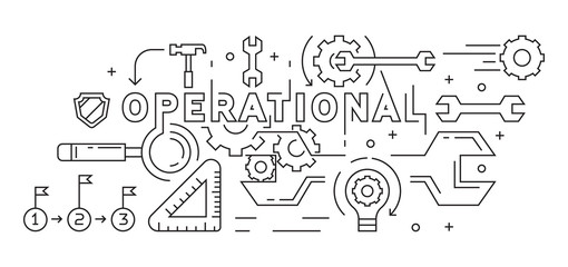 Operational Illustration. Line Art, Flat Line, MonoLine Design. Business and Management Concept. Background, Banner, or Landing Page. Black and White Doodle Style Vector