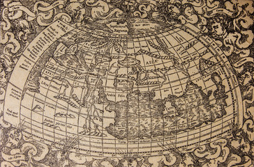 Badajoz, Spain - Jan 7th, 2019: Ptolemaic world map from 1575 Basel edition. Draw from book Enciclopedia Autodidactica published by Dalmau Carles in 1954