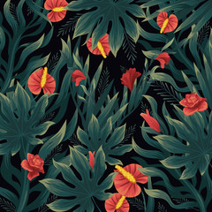 Flowers pattern, vector hand drawn watercolor illustration