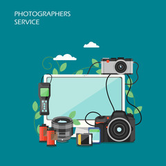 Photographers service vector flat style design illustration