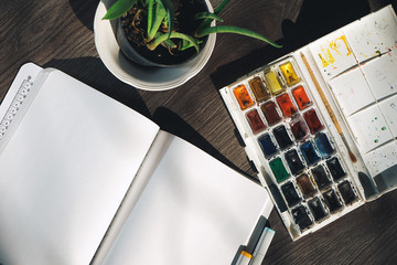 on a wooden surface is a white notebook, watercolors and a pot of plant