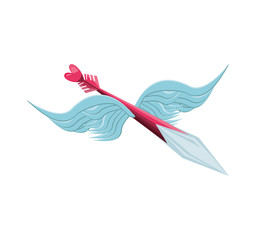 cupid arrow with wings isolated icon