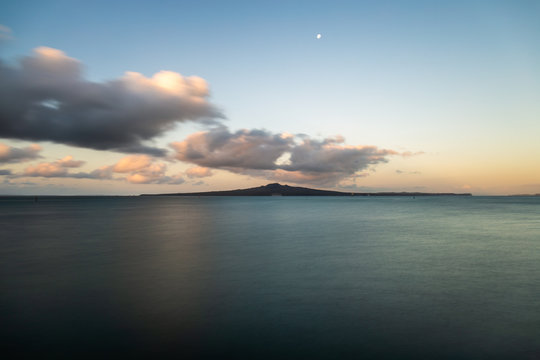 Long exposure sunset at the Okahu Bay looking at the Rangitoto Island