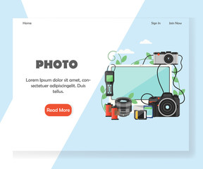 Photography vector website landing page design template