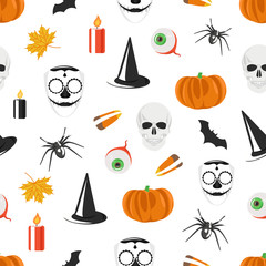 Vector seamless pattern with Halloween holiday symbols