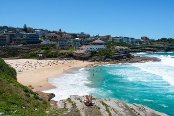 Distant view of full of people Tamarama beach in Sydney Australia