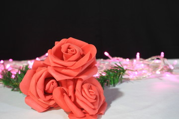 Happy valentine day with photoshoot flower and lamp