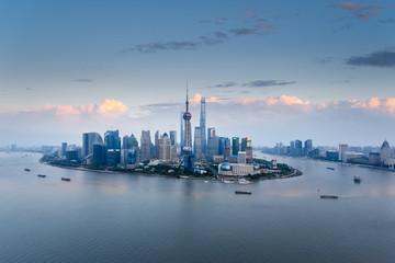 Fotobehang - aerial view of shanghai skyline at dusk