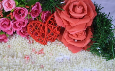 Photoshoot of roses and bouquet flower for Valentine day