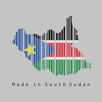 Barcode set the shape to South Sudan map outline and the color of South Sudan flag on grey background.