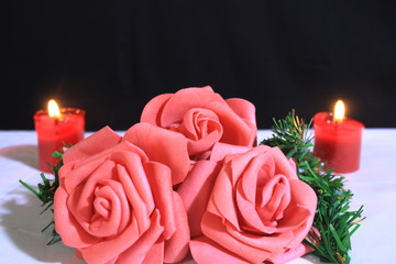 Photoshoot of decoration flower and candle burning for Valentine day