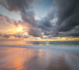 Sky background on sea shore sunse