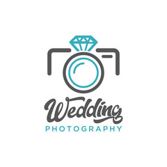 Wedding Photography Camera Diamond Logo Icon