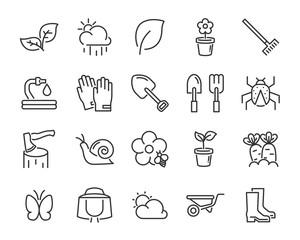 set of spring icons , such as harvest, farm, easter, flower, rain, garden