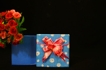 Decorative of valentine day with gift boxes and flower photoshoot