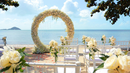 Wedding arch on the sand beach