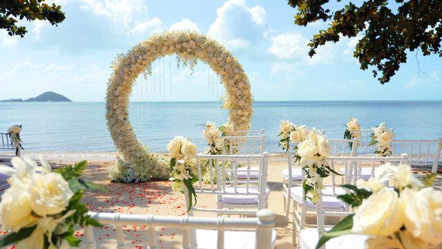 Wedding arch on the sand beach