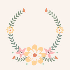 Floral greeting card and invitation template for wedding or birthday anniversary, Vector circle shape of text box label and frame, Spring flowers wreath ivy style with branch and leaves.