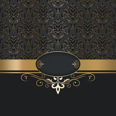 Wall Mural - Luxury vintage background with golden border.