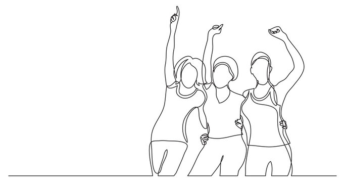 team of african-american female activists standing together as winners - one line drawing