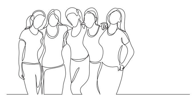 team of young female athletes standing together - one line drawing