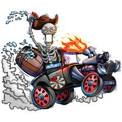 Skeleton and Car. Skull and Truck isolated. Vintage Portrait Artwork. Concept Art. Realistic Illustration. Video Game Digital CG Artwork. Character Design.