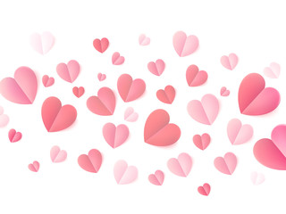 Soft color folded paper hearts isolated on white. EPS 10