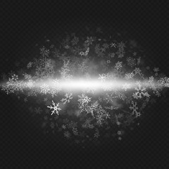 Christmas and New Year object for party invitation. Snow blizzard effect on transparent background. EPS 10