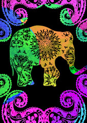 Watercolor Elephant poster with indian tribal patterns and ornament