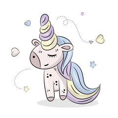 Little cute unicorn on a white background with stars. Vector hand drawn illustration