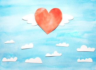 Love Invitation card Valentine's day with by wings flying above the clouds. Objects cut from paper and painted over watercolor.