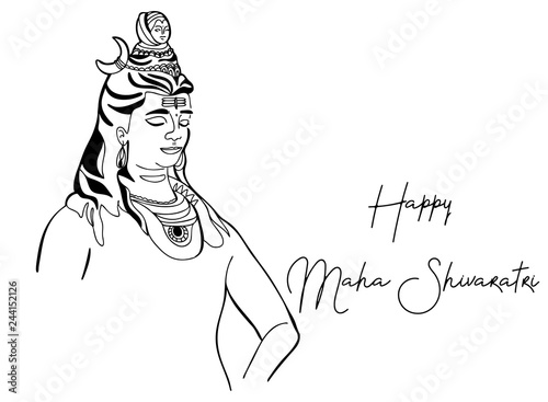 Happy Maha Shivratri, Lord Shiva sitting in lotus pose with
