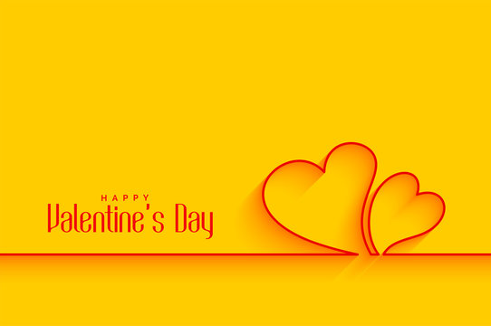 minimal line hearts shapes on yellow background