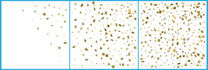 3d gold and silver stars confetti