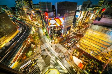 urban city night view in ginza, tokyo, Japan