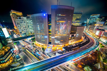 urban city night view in ginza, tokyo, Japan