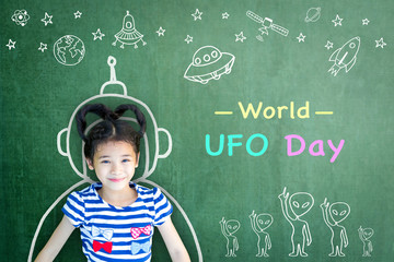 Garden Poster UFO World UFO day and outer space week education concept idea with girl kid in astronaut chalk drawing on teacher's chalkboard