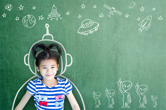 School girl kid's imagination with learning inspiration in innovative science technology engineering maths STEM education concept