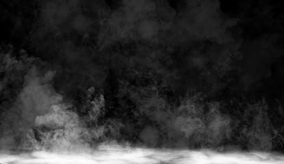 fog or smoke isolated special effect on the floor. White cloudiness, mist or smog background Fototapete