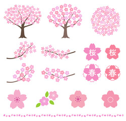 Cherry blossom illustration set
