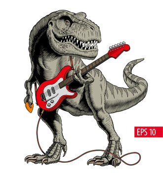 Dinosaur playing electric guitar. Tyrannosaurus or T. rex. Comic style vector illustration.