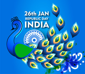 illustration of Indian republic design with peacock celebration for 26th January Republic Day of India - Vector