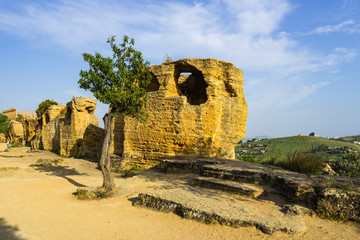 Ruins of early medieval necropolis at Valle dei Templi (Valley of the Temples), Agrigento, Sicily, Italy
