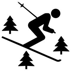 nwss54 NewWinterSportSign nwss - gz292 GrafikZeichnung - siwb539 SignIsolatedWhiteBackground siwb - english - (off-piste skiing) driving off the slopes: freeride - simple template g7091