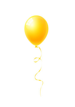 Yellow balloon isolated on white background vector