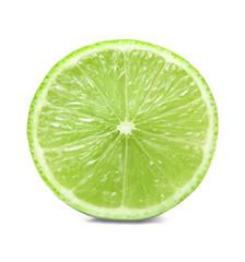 Fresh lime slice on white isolated background