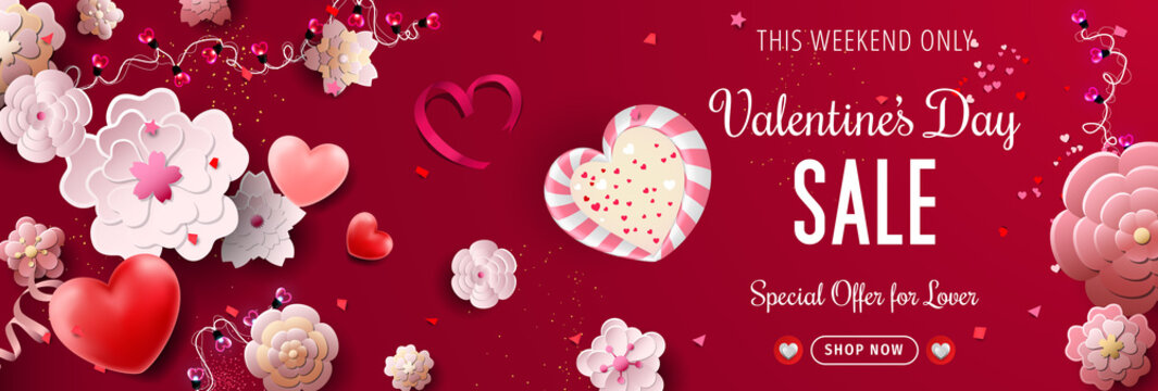 Valentines Day Sale banner - Valentines Day special offer.