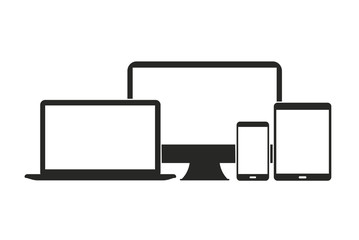 Device line icon set. Computer, smartphone, mobile phone, gadgets