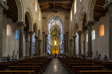 Interior of the Cathedral of Cefalù (Duomo di Cefalù), UNESCO World Heritage Site, Palermo province, Sicily, Italy